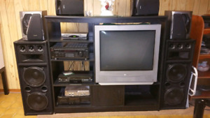 TV Entertainment Stand and TVs for Sale