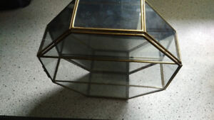 Vintage Glass & Brass Octagon Mirrored Curio Wall Display Case