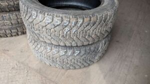 Pair of 2 Goodyear Nordic 215/55R17 WINTER tires (75% tread life