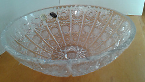 Bohemia Queen lace cut crystal bowl VTG