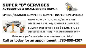 Spring/Summer Bumper to Bumper Inspection $24.95 + Tax