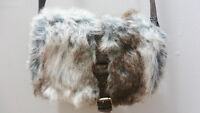 WOMENS BROWN TAUPE FAUX FUR WINTER PURSE - BAG