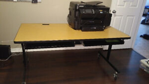 Sturdy wheeled office desk with pullouts for two keyboards
