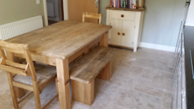 Pine table, chairs and benches