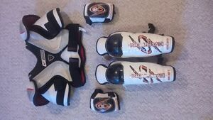 Hockey chest proterctor, shin pads, and elbow pads for 7 - 11yr