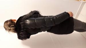 Manteau d'hiver cuir et fourrure véritable
