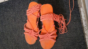 Shoes Orange unique platform heels Size 9-10