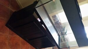 90 gl glass tank, black stand with hood,