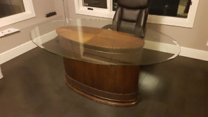 Oval Glass top Dining / Office table desk