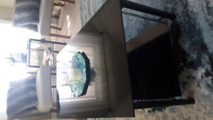 Beautiful matching black glass coffee table and side table