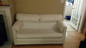 2 Pullout Couch Set, White, Spill-Proof