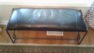 Leather and rod iron bench