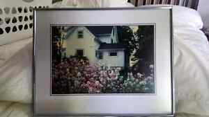 Beautiful Framed picture of house with flowers