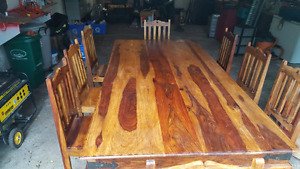 """Harvest table $900obo 8chairs good abd sturdy 94"""" L 47""""w 31""""h"""