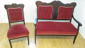 Beautiful 1890 Antique Pair - Love Seat & Chair