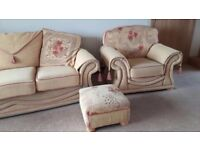 Beautiful suite; 3 seater, armchair and footstool