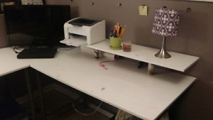White L shaped desk.