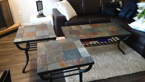 Wrought Iron with Stone Tile Table Set