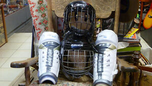 Bauer Hockey Adult & Youth Shin Guards+ 4 Helmets with Cages