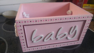 "Wooden ""baby"" storage box $5"