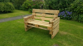 Garden bench Made from strong euro pallets Come sanded or whethered.