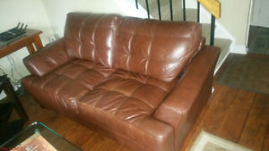 Real leather couches 3 pcs set