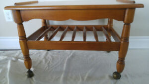 Solid Maple Wheeled Coffee Table with shelf