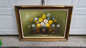 FLORAL STILL LIFE OIL ON CANVAS PAINTING