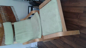Green Poang chair and footstool