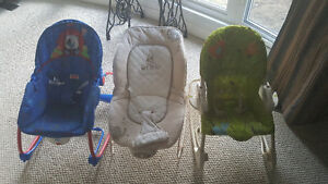 3 baby chairs and a winter suit