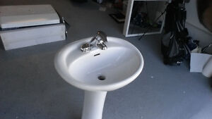 BARELY USED, PORCELAIN BATHROOM STAND, SINK AND FAUCET