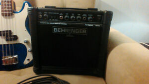 Base guitar, amplifier and cable