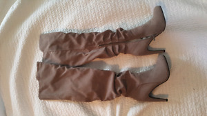 Size 8.5 grey thigh high boots