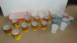 Anchor Hocking Fire King LOT COFFEE CUPS & CASSEROLE PEACH