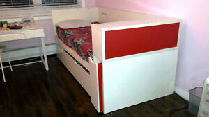 Lit Superpose/bunk twin bed/bed w bed drawer
