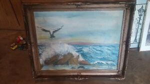 FOLK ART OIL PAINTING OIL  CANVIS NAUTICAL