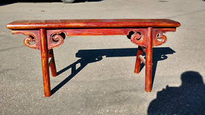 Vintage solid wood hand crafted stained bench