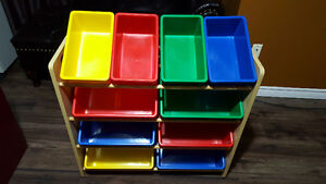 Kids' Toy Storage Organizer with Plastic Bins