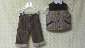 2 Pce Baby Boy Old Navy Vest & Pant Brown/Taupe Size 3-6 Mths