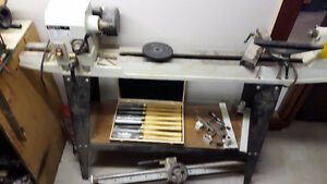 "12 x 36"" wood lathe with swivel head. c/w duplicator and knives."