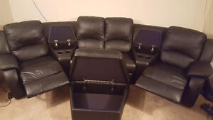 Mint condition theater couch with recliners and ottoman