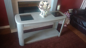 Gray lightly stressed refurbished coffee table centerpiece table