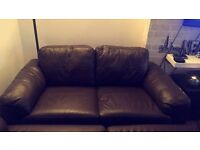 Brown leather sofa £50 for 3seater and 2seater