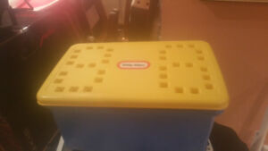 Bright colored Little Tykes Waffle Box full of plastic blocks