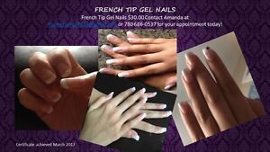 offering french tip gel nails