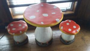 Table & bancs champignons