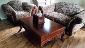 Matching love seat and chair- 2 end tables and coffee table