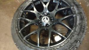 4 mercedes BENZ rims 225/45/18 BRIDGESTONE WINTER tires %98 trea
