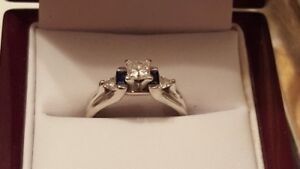 White Gold Diamond Ring with Sapphires - 0.92ctw - $3,000 value