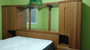 Solid Oak Queen Bed and Cabinets